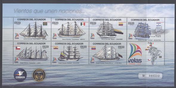 ECUADOR: Sailships 2014- Sheet of 7- Velas Manabi