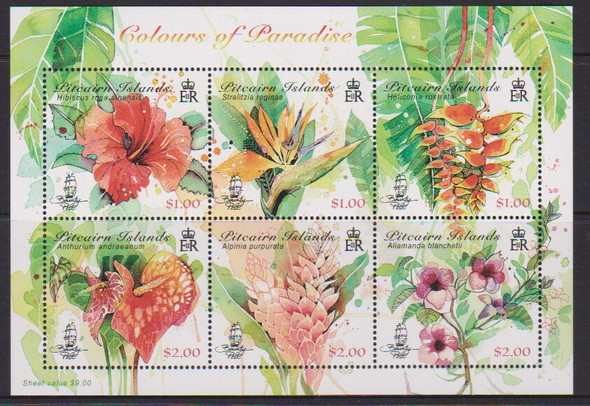 Pitcairn Islands (2018)-- Colors of Paradise (flowers),Sheet of 6v