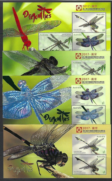 AUSTRALIA (2017)-- China Expo Dragonfly Souvenir Sheets (4)- Embossed/Foil- Spectacular!