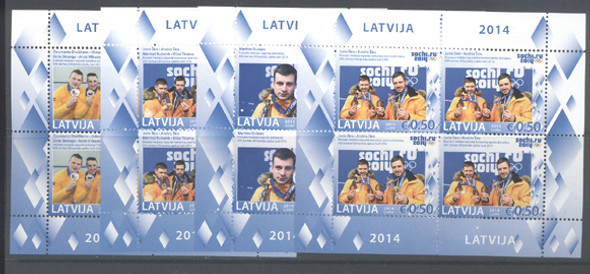 LATVIA (2014)- Sochi Olympic Medalists- 4 Sheetlets of 4v