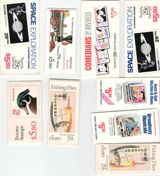 DISCOUNT POSTAGE LOT- 9 X 29c COMMEMORATIVE BOOKLETS- FV>$52