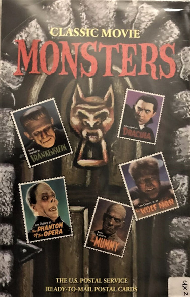 US (1997)- CLASSIC MOVIE MONSTER POSTCARDS - 20c X 20 CARDS