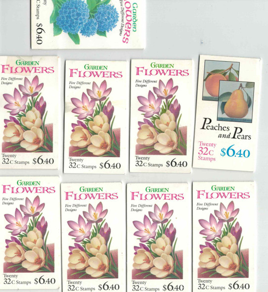 DISCOUNT POSTAGE LOT OF 9 $6.40 FLOWER/FRUIT BOOKLETS