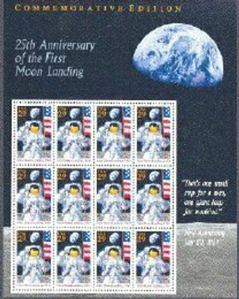 US (1994)- -25th Anniversary of Moon Landing- Sheet of 12v #2841 Sold with USPS Commemorative Panel!