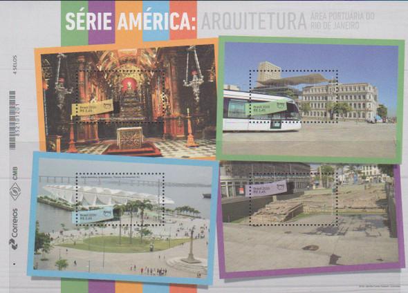 BRAZIL (2020)-UPAE ARCHITECTURE SHEET OF 4v- Church, Train Station, etc.