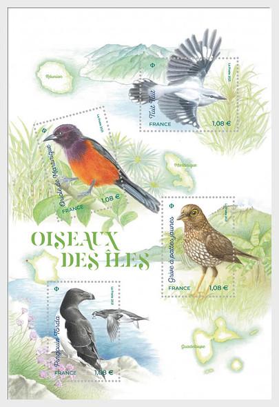 FRANCE  (2021)-Island Birds Sheet of 4 values