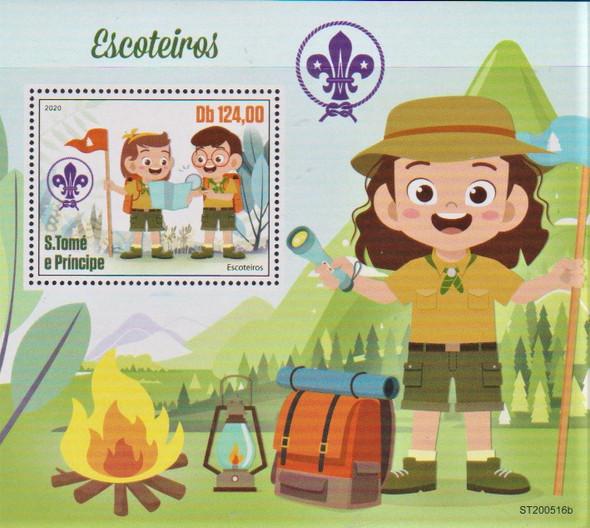 ST.  THOMAS (2020)- Scouting Sheet of 4 values & Souvenir Sheet