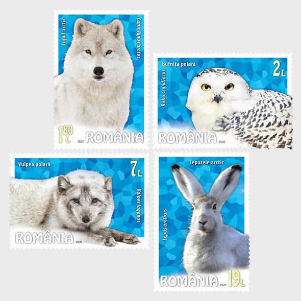 ROMANIA (2020)- POLAR ANIMALS- Fox, Owl, Fox, Hare (4v)
