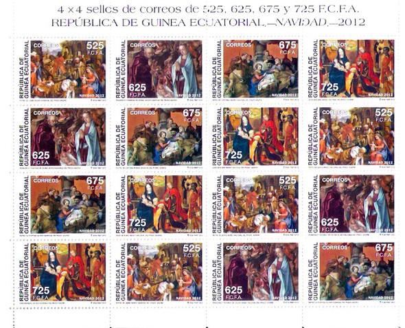 EQUATORIAL GUINEA- Christmas 2012- mini-sheet of 4 sets