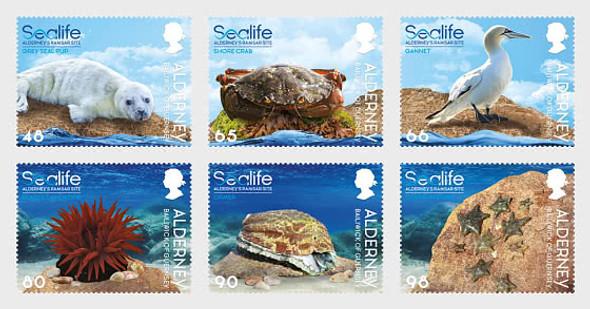 ALDERNEY (2021)- Sealife in the Ramsar Area- 6v- Bird, seal, etc.
