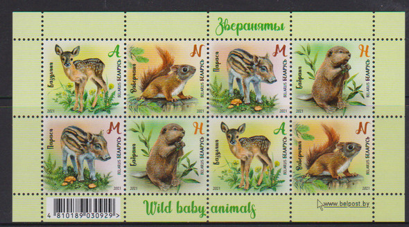 BELARUS (2021)-Baby Animals Sheet of 8v