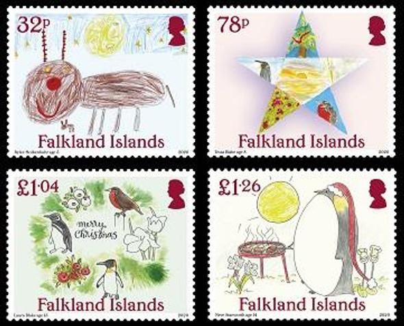 FALKLAND ISLANDS  (2020)- Christmas - Children's Drawings of Penguins, Star, etc. (4v)