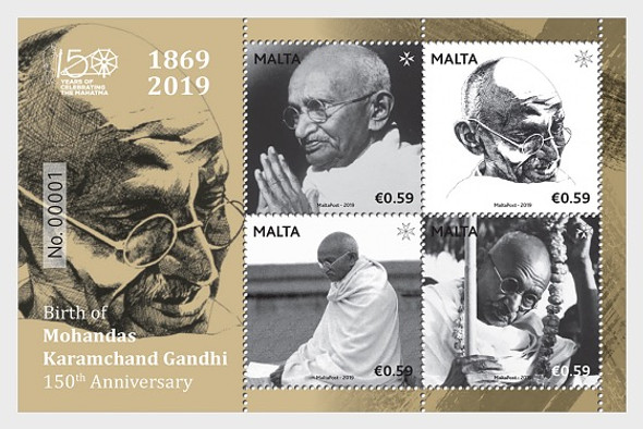 MALTA (2021)- Birth of Mohandas Karamchand Gandhi - 150th Anniversary - Miniature Sheet