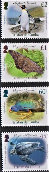 TRISTAN DA CUNHA (2020)- Vagrant Species- Penguin, Moth, Bird, Turtle (4v)