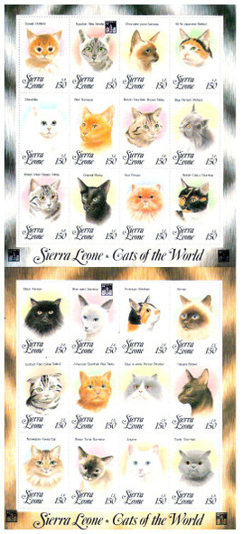 SIERRE LEONE (1993)- -Cats of the World- 2 Sheets (24 values)