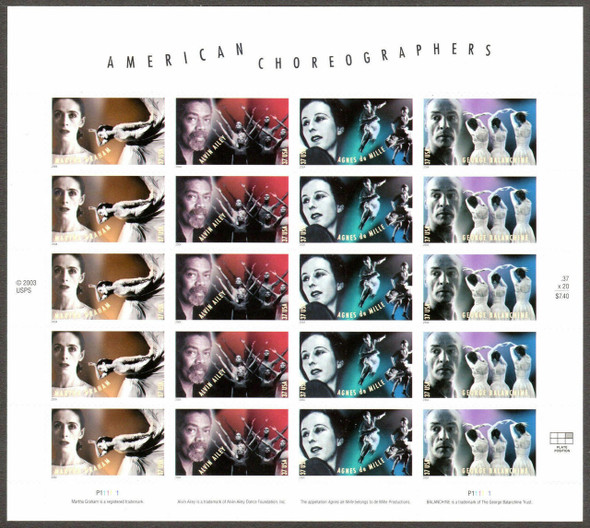 US (2004)- American Choreographers Sheet of 20- #3840-3- + Commemorative Panel