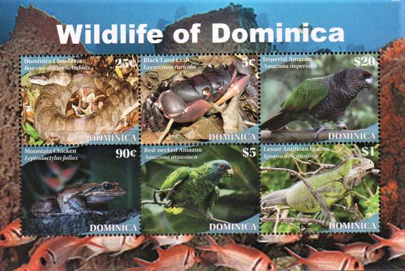 DOMINICA (2021)-Wildlife Sheet of 6v- Parrots, snake, etc.