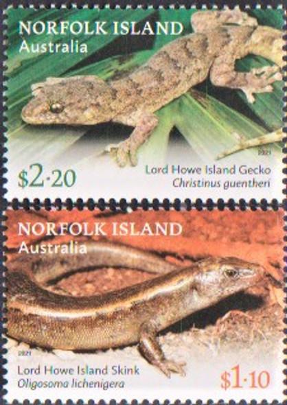 NORFOLK ISLAND (2021)- Lizard and Slink (2v & sheet)