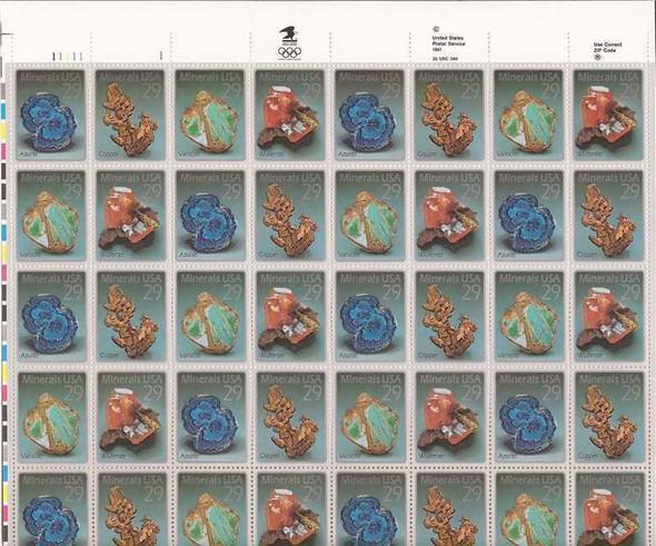 US (1992)- MINERALS  (Sheet of 40v)- #2700-3