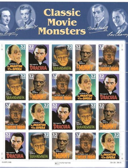 US  (1997) -- Classic Movie Monsters Sheet of 20v- #3172+Postcards+ Jumbo Postcard Box Set! Below FaceValue!