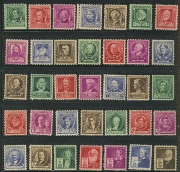 US (1940)-SCOTT 859-893 FAMOUS AMERICANS SET OF 35 STAMPS UNUSED MH