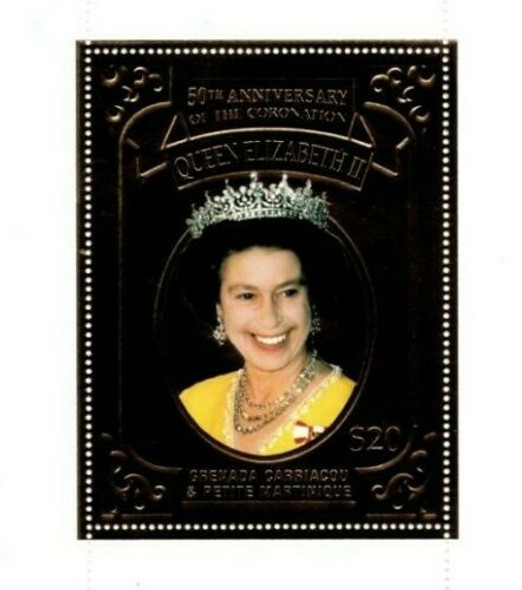 GRENADA GRENADINES (2002)- HM Queen Elizabeth Gold Foil Stamp (#2439)
