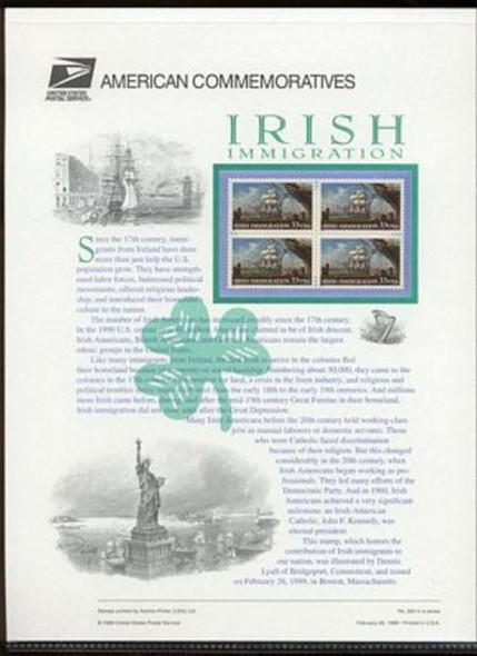 US (1999)- Irish Immigration Commemorative Panel (#563)