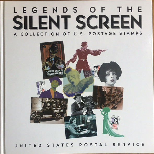 """USPS """"LEGENDS OF THE SILENT SCREEN"""" ALBUM W/STAMPS"""