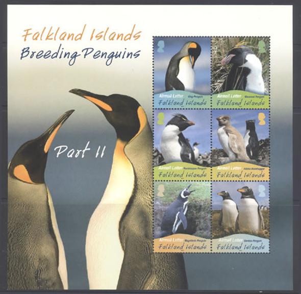 FALKLAND (2010)- Breeding Penguin Sheet of 6 values- penguins in large border