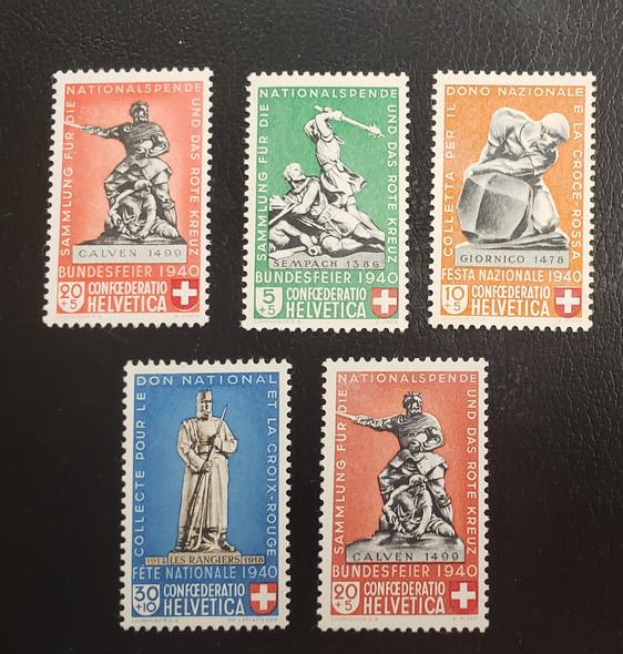 SWITZERLAND (1940) Statues sc#B100-104 $35