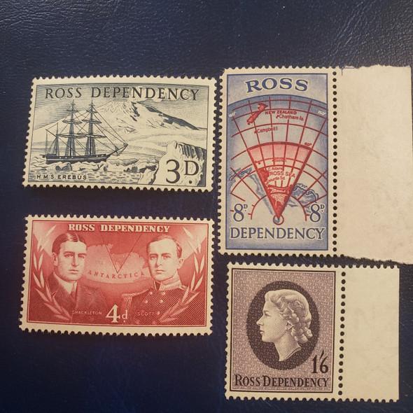 NEW ZEALAND - ROSS Dependency (1957) VF MNH L 1-4 Shackleton, Map , Ship