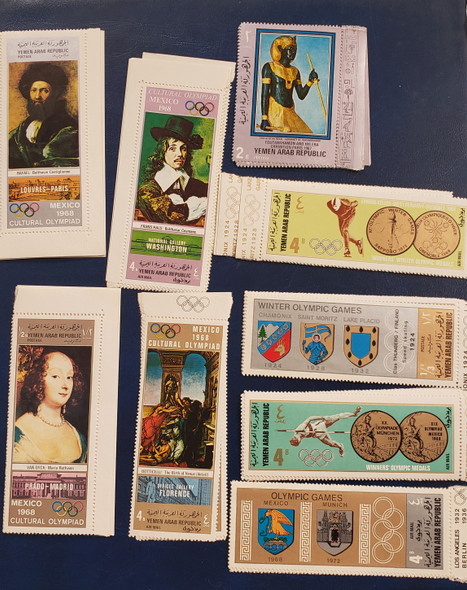 YEMEN (1968,9) 9 MINT NH SETS, Art, Olympics Scv$ 40