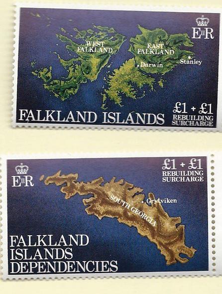 FALKLAND ISLANDS & FALKLAND DEP.- Maps (semi-postals) for rebuilding (2v)
