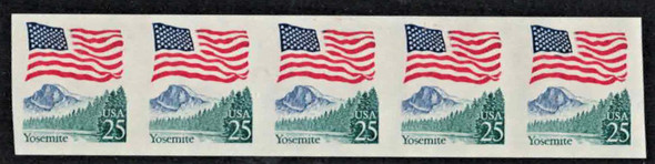 US (1988)-25c YOSEMITE COIL ERROR- IMPERFORATED COIL STRIP - #2281a