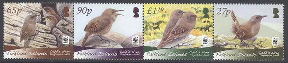 FALKLAND ISLANDS (2009)- WWF Cobbs Wren (Bird) (4v)
