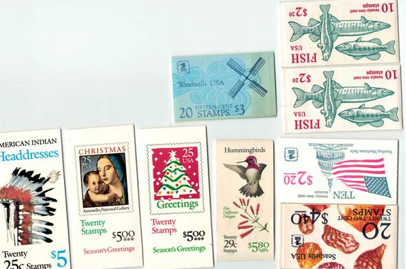 DISCOUNT POSTAGE LOT-- 9 BOOKLETS-- Seashells, Hummingbirds, More! FV>$34!