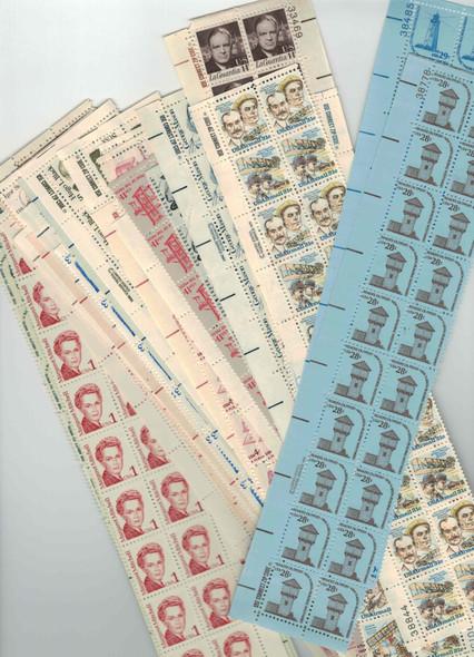 DISCOUNT POSTAGE LOT-- 43 MARGIN STRIPS OF 20 OF 1c-31c DEFINITIVES- FV>$59!