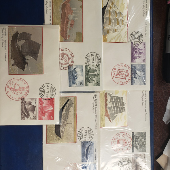 JAPAN Special FDC , Engraved Metal Cachets ,SHIPS 1975,6