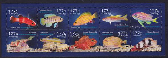 NETHERLANDS ANTILLES: CURACAO (2015)  Fish- -Sheet of 10- Bladefin Bass- Dragonette etc