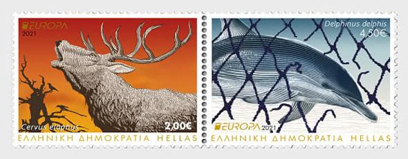 GREECE- EUROPA 2021 ENDANGERED NATIONAL SPECIES- DOLPHIN & ELK