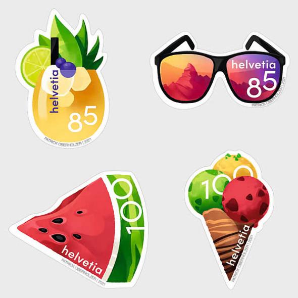 SWITZERLAND   (2021)-Summer Treats (Unusual Self-Adhesives)- ice cream, sunglasses, etc.