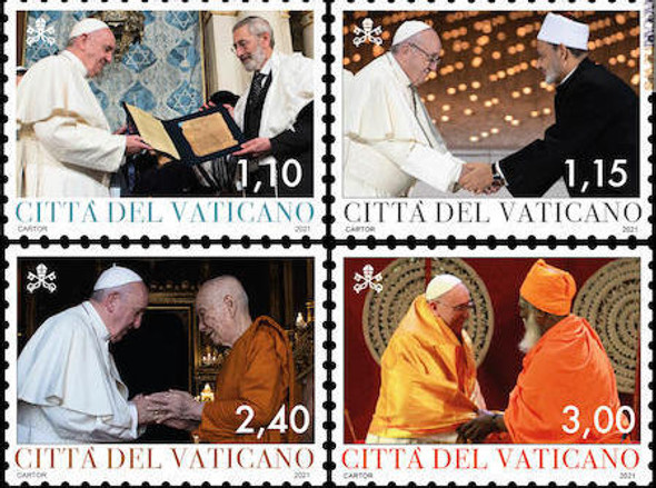 VATICAN  (2021)  - Pope Francis and Interfaith Dialogue (4v)