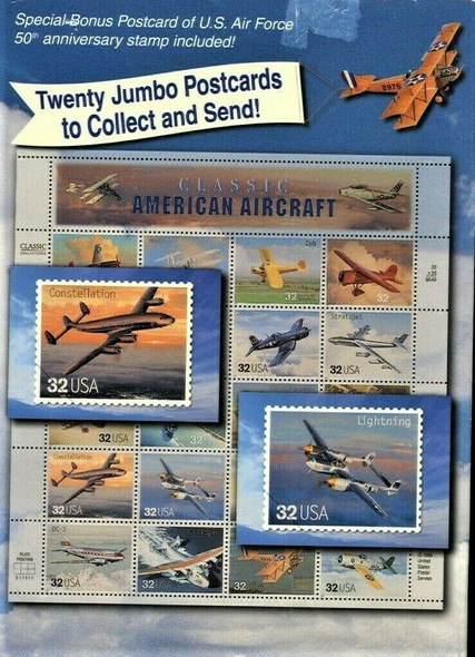 US (1997)- Classic American Aircraft  Sheet of 20- -SC#3142 sold with 20 Jumbo Postcards!