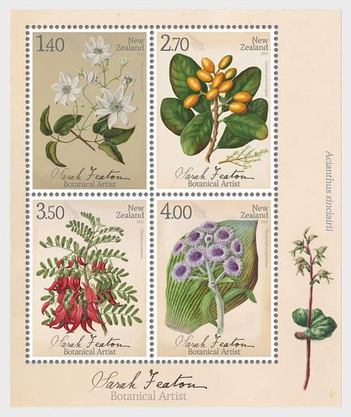 NEW ZEALAND  (2021)-Sarah Fenton Botanical Art Souvenir Sheet