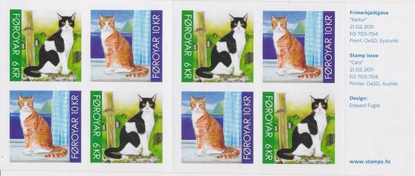 FAROE (2011)- CATS BOOKLET (8 self-adhesives)