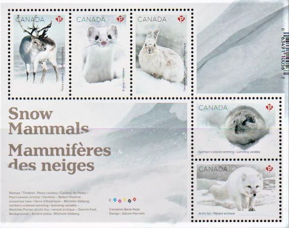 CANADA (2021)- Snow Mammals Sheet of 5v