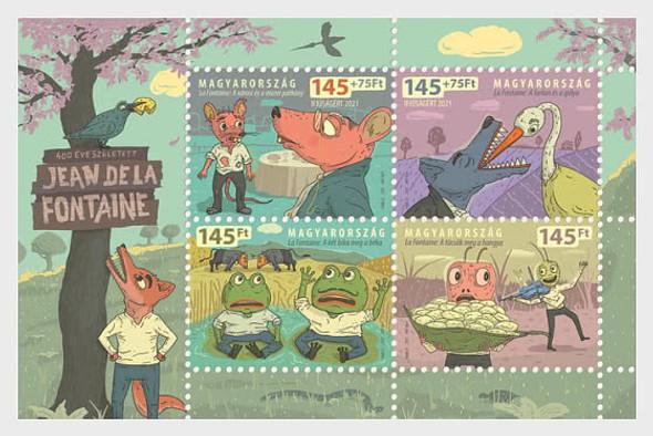 HUNGARY (2021)- Jean de La Fontaine Anniversary Cartoon Sheet of 4v