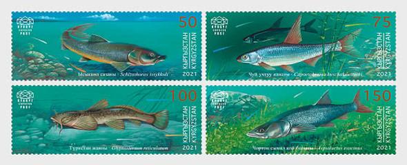 KYRGYZSTAN (2021)-Indigenous Fish (4v)