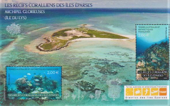 FR. ANTARCTIC   (2021)-Coral Reef and Fish Sheet