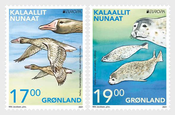 GREENLAND (2021)- Europa 2021 Endangered National Animals (2v)